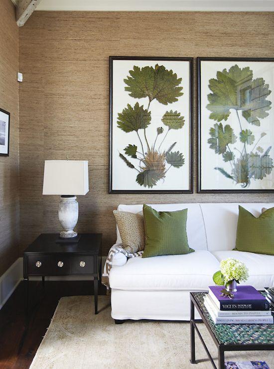 Grasscloth wallpaper. urban grace interiors.Decor, Urban Grace, Botanical Prints, Living Room Design, Interiors, Livingroom, Art, Grasscloth Wall, Colors Schemes