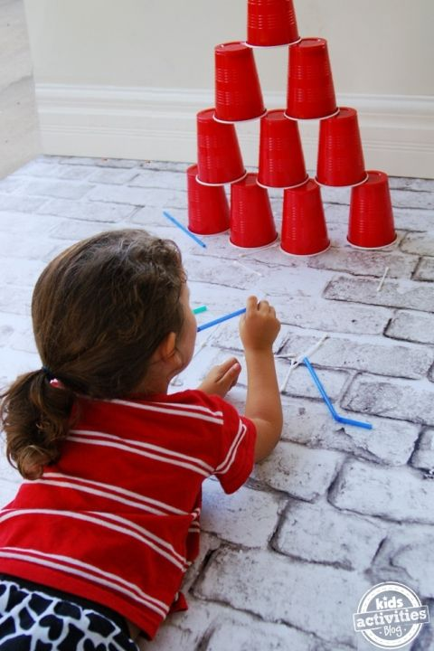 Q-tip Blow Dart Game  simple activity - occupy the kids for hours with straws q tips and cups