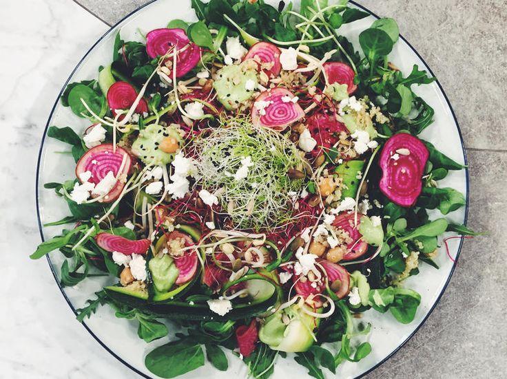 Quinoasallad med råa betor, groddar, frön, fetaost och avokadodressing