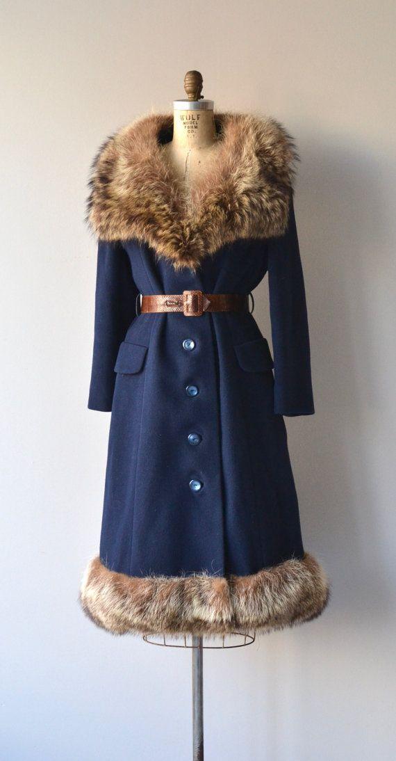 Beaufort coat vintage 1970s wool coat fox fur 70s by DearGolden