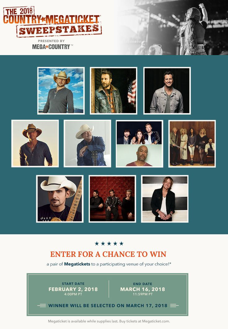 The Live Nation Country Megaticket 2018 Sweepstakes (Ends 3/16 - Daily Entry) #Sweepstakes #Contest #Giveaway #win