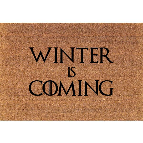 Winter Is Coming House Stark Game of Thrones Door Mat Coir Doormat Rug... ($38) ❤ liked on Polyvore featuring home, rugs, brown, floor & rugs, home & living, coir mat, coconut fiber doormat, brown door mat, coco fiber door mats and brown rug