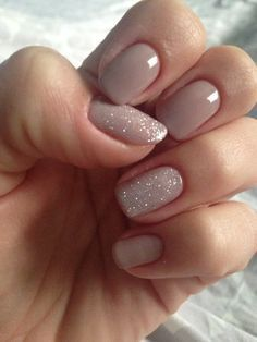 Love the subtle glitter accent nails