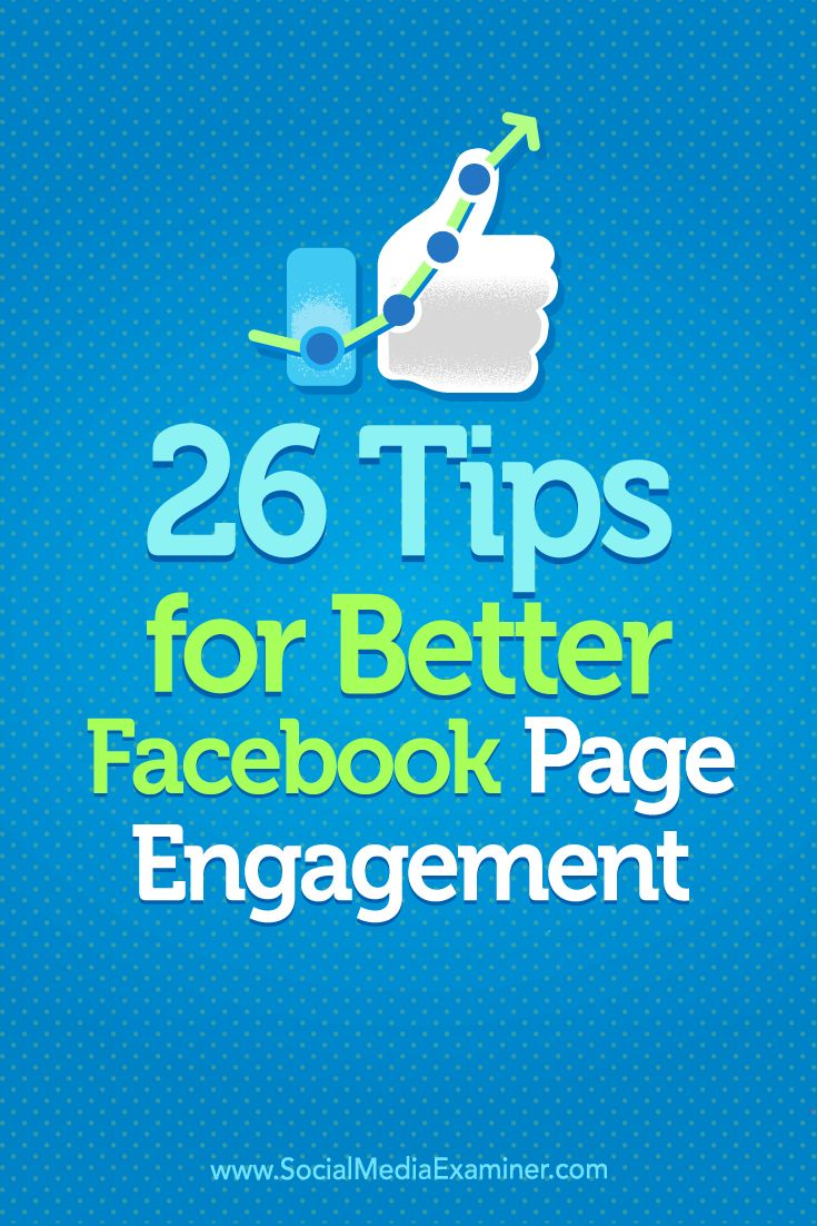 Have you noticed a drop in your Facebook engagement?  Making small changes to what and how you post can help your Facebook updates generate clicks, likes, and comments.  In this article, you'll discover 26 tips for boosting Facebook engagement. Via @smexaminer.