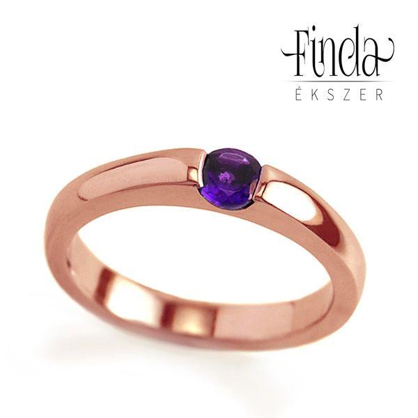 Minimal rozé arany gyűrű ametiszttel