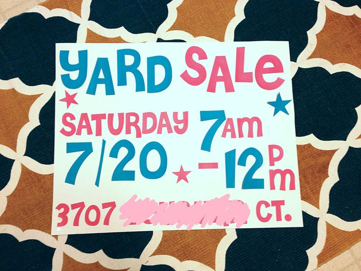 My cute and simple DIY Yard Sale sign!  Took about an hour to make two poster board size signs.  Letters/numbers are Cheri font. Cut out using my silhouette machine.    Tot cost under $4 for 2x signs :)
