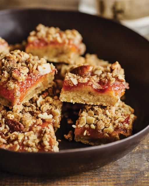 Such a great treat. The sweet jam with nutty topping is small bites of pure delight.