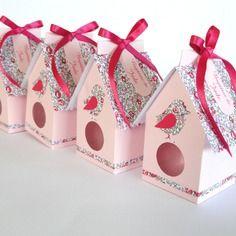 Crate box bird cage / pink birdhouse and liberty baptism, wedding, communion handmade