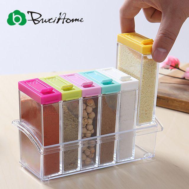 Transparent Spice Jar 2016 Newest Simple Colorful Lid Seasoning Box 6pcs/set Kitchen Tools Salt Condiment Cruet Storage Box