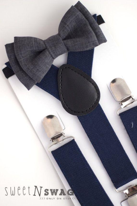 SUSPENDER & BOWTIE SET.  Newborn - Adult sizes. Navy Blue Suspenders. Dark grey bowtie.