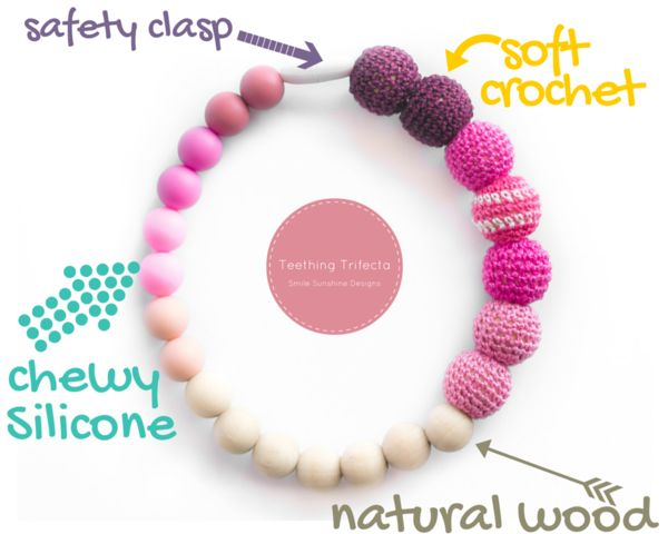 The perfect silicone teething toy!! Has natural wood, chewy silicone teething beads, soft crochet beads and can clip to a baby carrier, car seat, stroller or just be played with!