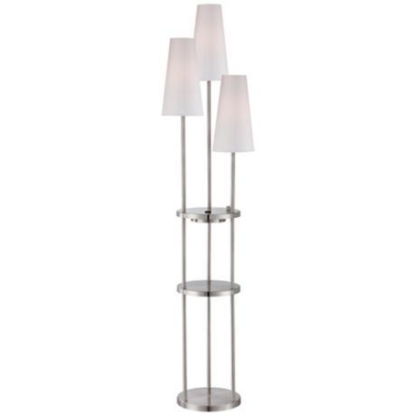 Lite Source Vidal Floor Lamp With Shelves And Power Outlet | LampsPlus.com