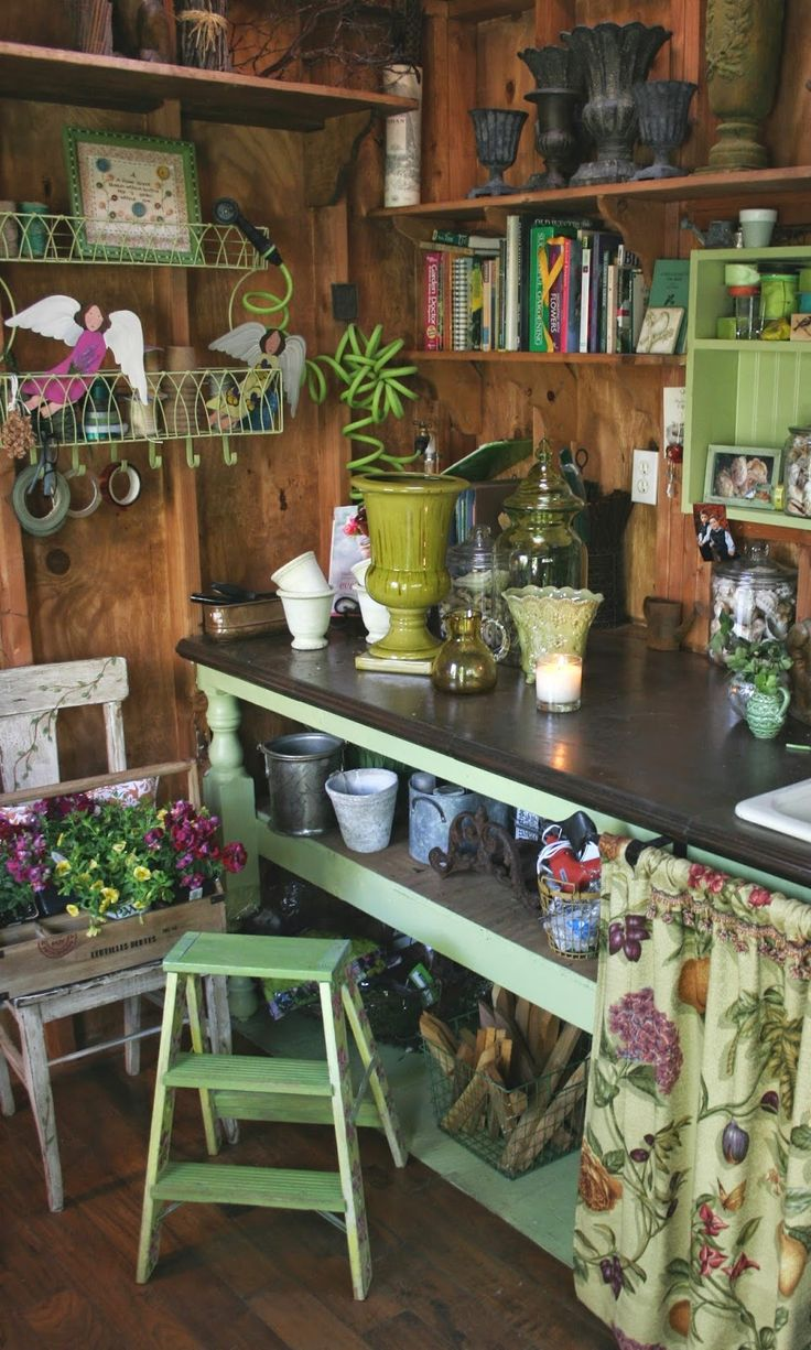 A lot of vintage materials went into constructing her potting shed, but she made sure it is extremely efficient. Flower arranging is a favorite hobby of Nancy's, so this space is perfect for storing all the supplies she needs.  {She shed}  #sheshed  @rubylanecom #VintageGarden #rubylane