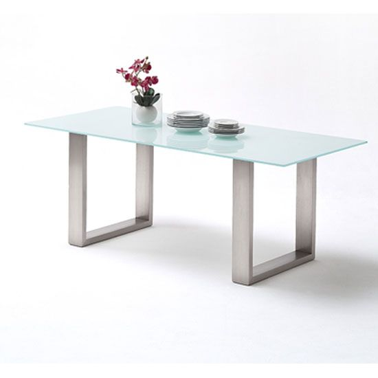 Sayona Glass Dining Table Wide In Pure White With Stainless Steel Base  Finish: Pure White Part 13