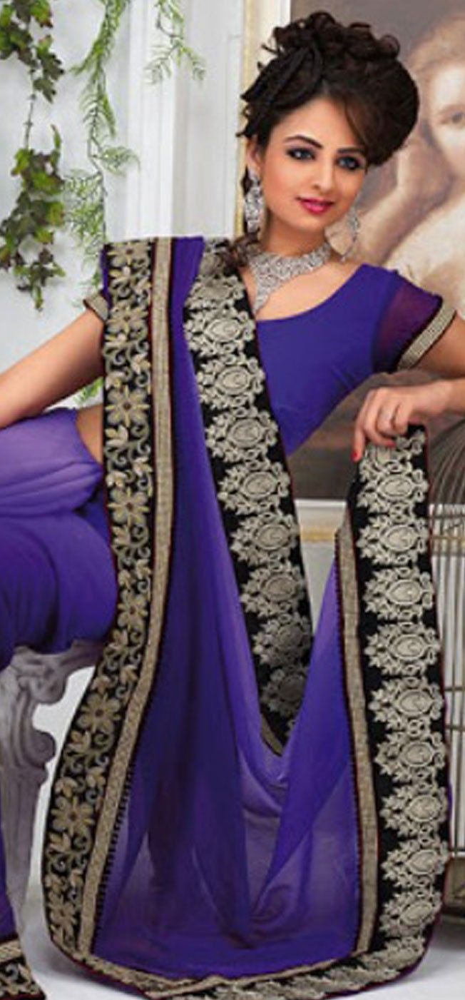 #Blue #Purple #Saree - £92.00. For full product information visit: http://www.reevaonline.co.uk/sarees/classic-look-purple-saree-with-blouse.html
