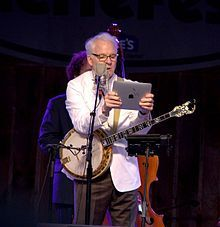 Steve Martin reads his thousand-dollar set list at MerleFest, 2010. Photo by Forrest L. Smith, III.