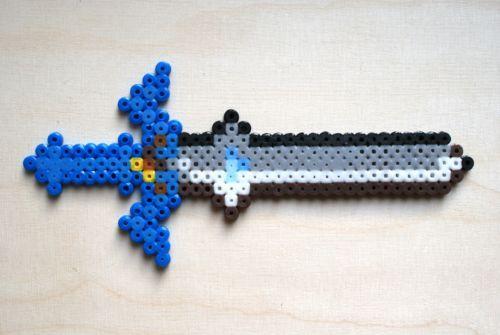 The Legend of Zelda Link Master Sword 8-bit Sprite Hama Perler Bead Craft by nivmagus