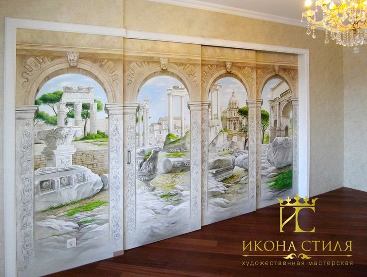 Sliding doors with the classic painting. Three-dimensional illusion picture. #paint #draw #interior #decor #design #mural #painting #door