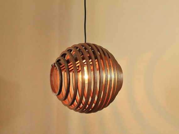 Wood Pendant Light - Edison Chandelier - Rustic Chandelier - Hanging Dining Lamp - Ceiling Light Fixture - Modern Geometric Lighting