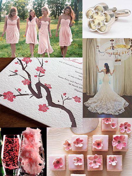 Kristin's cherry blossom wedding inspiration board inspired by our Sakura wedding invitation design