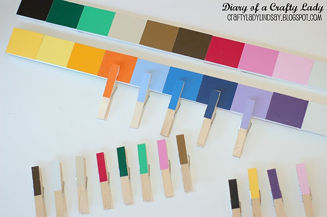 color matching with paint stick/paint chips and clothespins