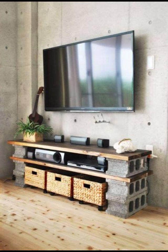 Mueble De Tv Economico: Tabique Y Madera