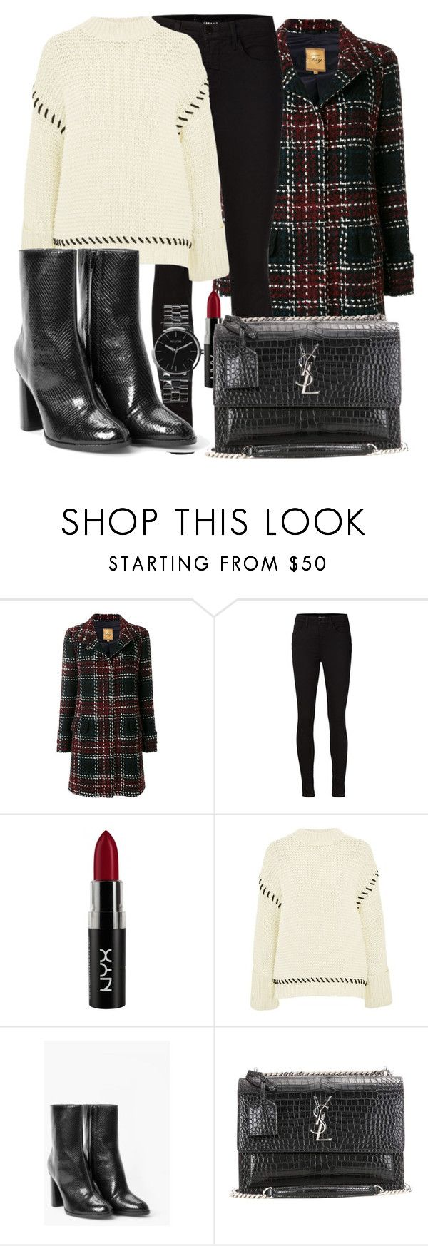 """""""Untitled #5172"""" by beatrizvilar on Polyvore featuring FAY, J Brand, NYX, Topshop, MANGO, Yves Saint Laurent and Nixon"""