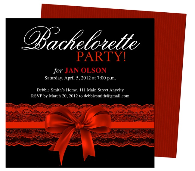 bachelorette party invitations templates scarlet red garter bachelorette party invitation. Black Bedroom Furniture Sets. Home Design Ideas