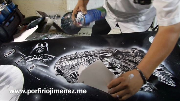 Darth Vader and the millennium falcon spray paint art