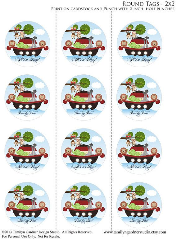 Instant Download - Noah's Ark Printable Cupcake Toppers - Baby Shower