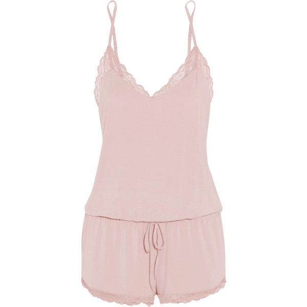 Calvin Klein Underwear Seductive Comfort lace-trimmed stretch-modal... ($60) ❤ liked on Polyvore featuring jumpsuits, rompers, baby pink, playsuit romper, pink rompers, pink romper and calvin klein underwear