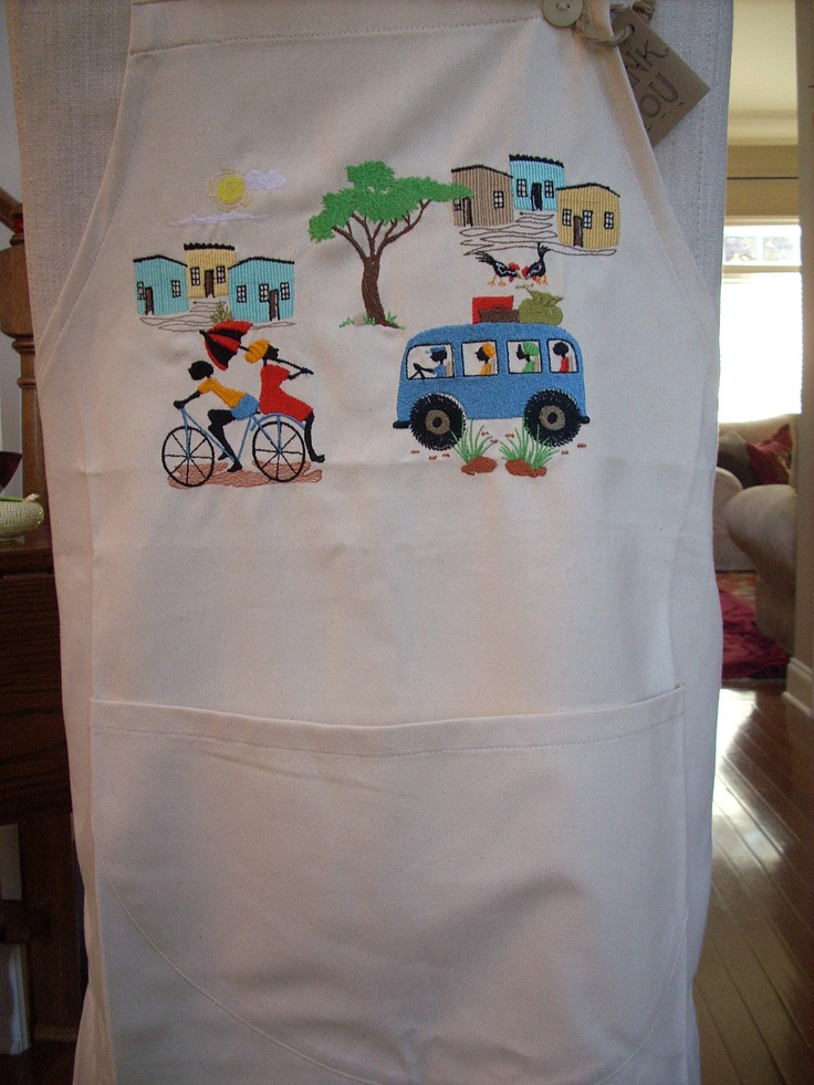 Apron  featuring a traditional African township scene. $40.00, via Etsy.