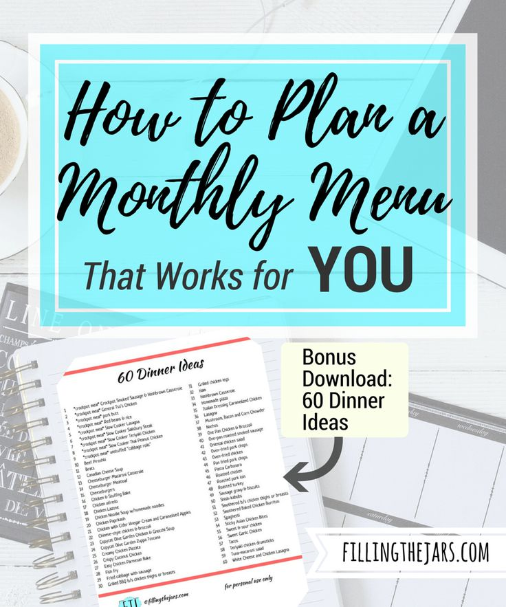 How to Plan a Monthly Menu That Works For YOU | www.fillingthejars.com | {Bonus Download: 60 Dinner Ideas} Would you like to save time, frustration, and money? A monthly menu plan could work for you. Click here to learn how.