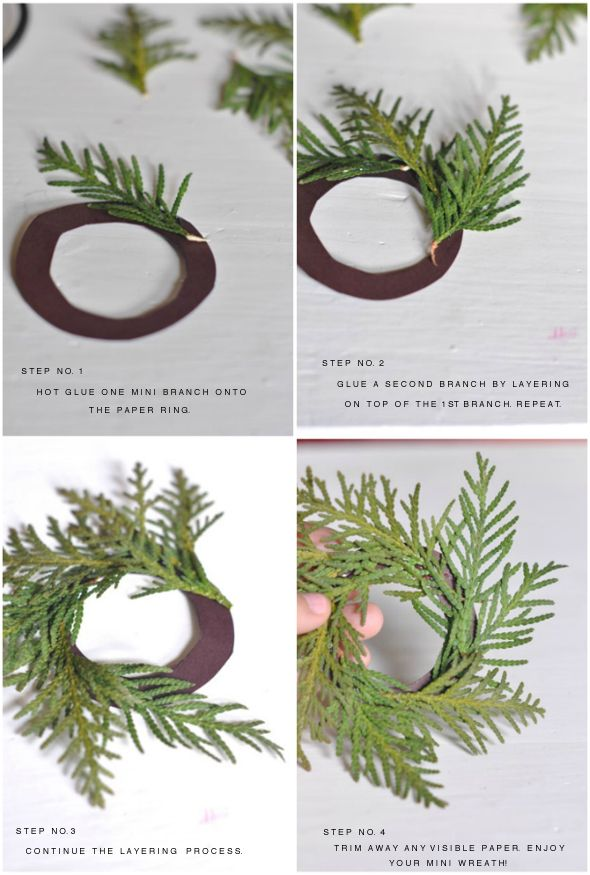 tutorial: easy DIY mini wreaths for a holiday table...ooh, could also do with glittery or gold-dipped feathers!  Use as napkin rings, hanging ornaments, around bottles, with a paper tag for placecards, on Christmas gifts, at the base of candles...
