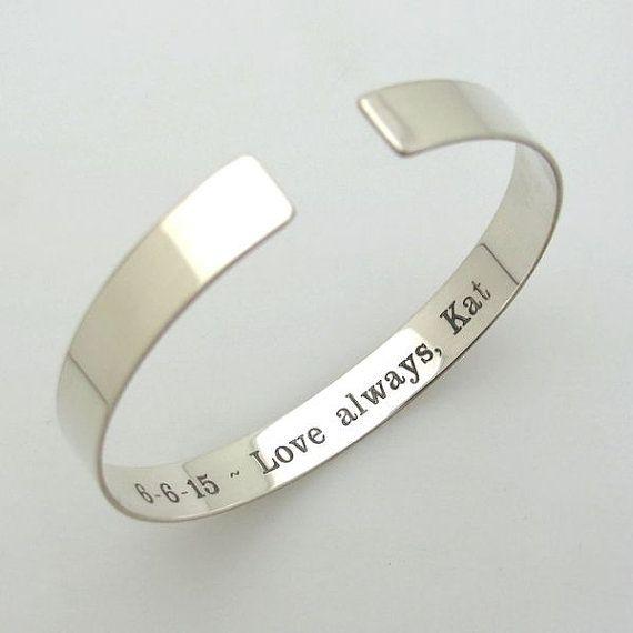 Hidden Message Bracelet - Inside Engraved Bangle Cuff Bracelet - Sterling Silver Bracelet for Her