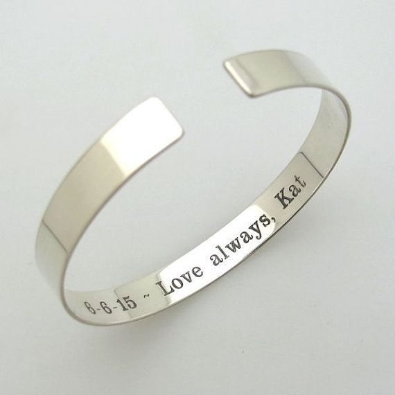 Hidden Message Bracelet - Inside Engraved Bangle Cuff Bracelet - Sterling Silver Bracelet for Her