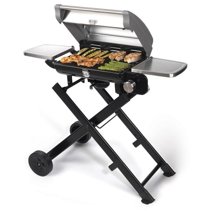 Tabletop Outdoor Gas Grill Portable Silver Mini Fold out Sides, Roll Stand  #Grills