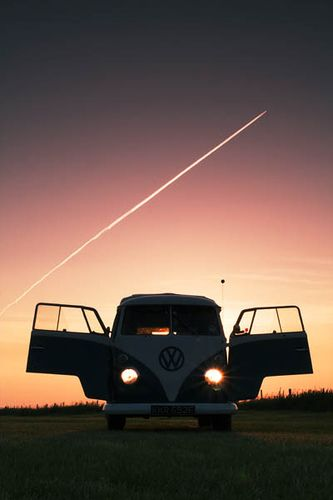 VW & Plane Trail by retrophotouk, via Flickr