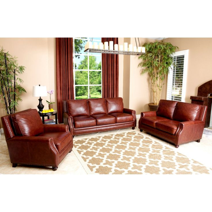 Abbyson Bel Air 3 Piece Hand Rubbed Leather Sofa Set - SK-8040-CST-3/2/1