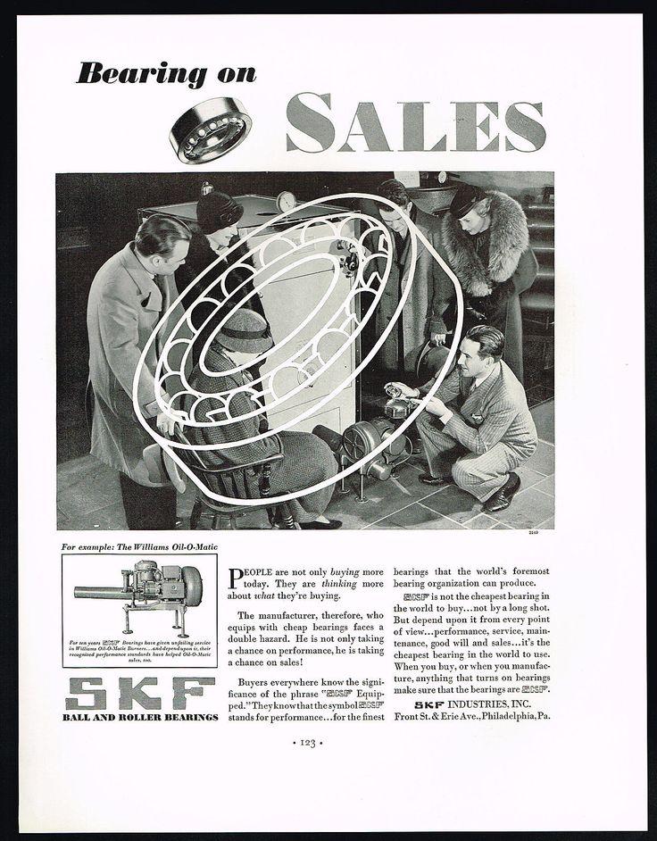 1934 SKF Bearings Williams OIL O Matic Burner Furnace Print AD   eBay