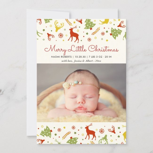 Merry Little Christmas New Born Baby First Xmas Holiday Card Zazzle Com Merry Little Christmas Little Christmas Holiday Design Card