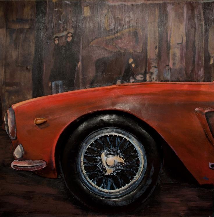 CUADRO FERRARI A. Acrílico sobre metal con carrocería del Ferrari en relieve. Junto con el cuadro FERRARI B y el cuadro FERRARI C conforman un cuadro fraccionado en 3. Medidas: 80 x 8,5 x 80 cm. Peso: 8,5 kgs.