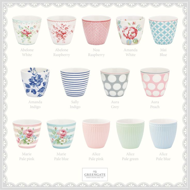 Which one of our new latte cups from the Spring/Summer Collection 2016 do you like the best? We love to mix and match heart-humørikon Check out the whole collection here: http://catalogue.greengate-imagebank.dk/SpringSummer2016/  #GreenGate #GreenGateOfficial