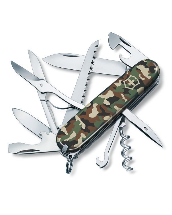 Go camo: Swiss Army's printed pocket knife is the perfect partner for any adventure. | Stainless steel/celidor thermoplastic | Made in Switzerland | Length when closed: 3.5"