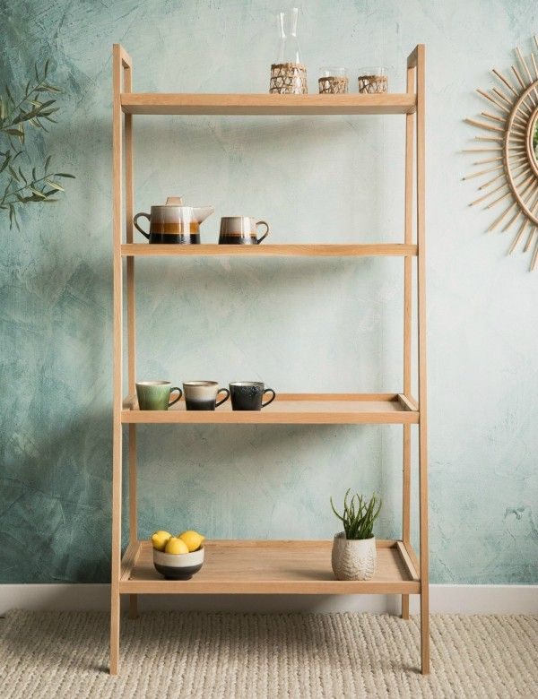 this stunning oak shelving unit would make a beautiful addition to any kitchen living room or dining room display your favourite items on the four large