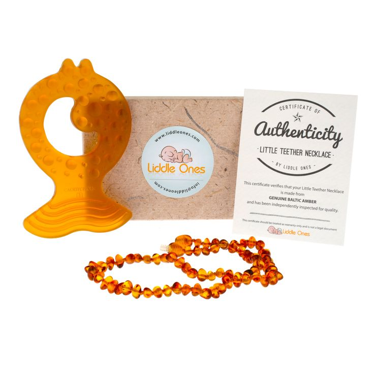 The perfect combination for your little one when they start teething!  A beautiful baltic amber teething necklace - used for centuries to soothe teething related pain.  Comes with a natural rubber fish teether - the perfect size for your little ones to chew!