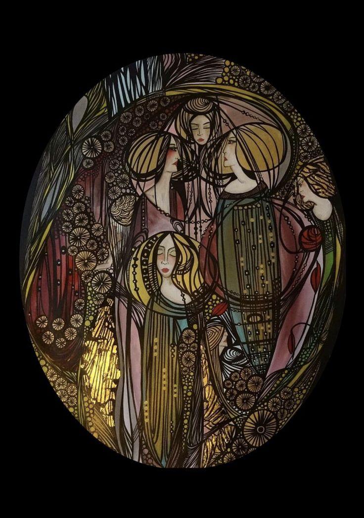 Large oval inkwork with applied gold leaf in an antique wooden frame  More at www.leylasalm.com  Posted via www.instagram.com/leylasalm    #artist, #art, #artnouveau, #artdeco #design #designer #antique #antiques #vintage #airbnb #dutch #leylasalm #roaringtwenties #1930s #1920s #2017 # #beautiful #artistsmuseum #femaleartist #spiritual #sverige #sweden #gold #original #holiday #Forsale