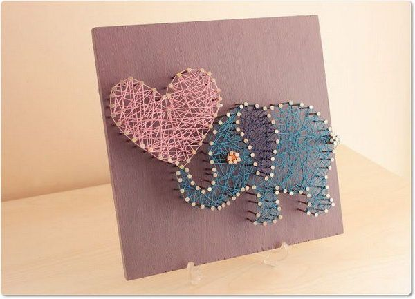 DIY String Art pretty Elephant.   Share Today's Craft and ...