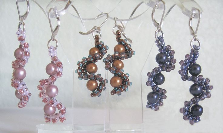 """Free Project: Whirlygig Earrings.  (Self note:  see the resemblance to the """"seahorse"""" earrings.  It's printed, too.  :)~"""