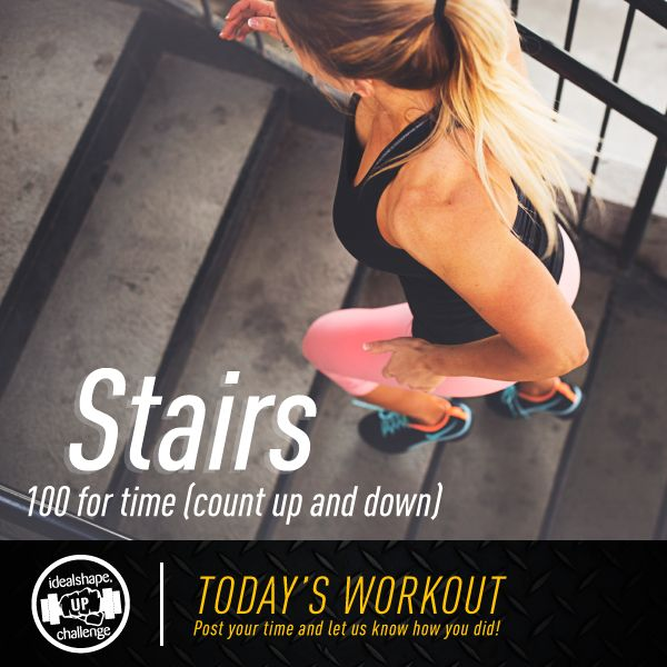 Today's challenge! - 100 Stairs (50 up and 50 down) for time. The full challenge gives you 12 weeks of fat melting workouts... for free.